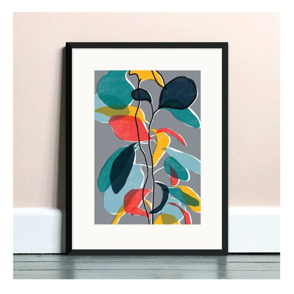 Baby Rubber Plant Print in Grey