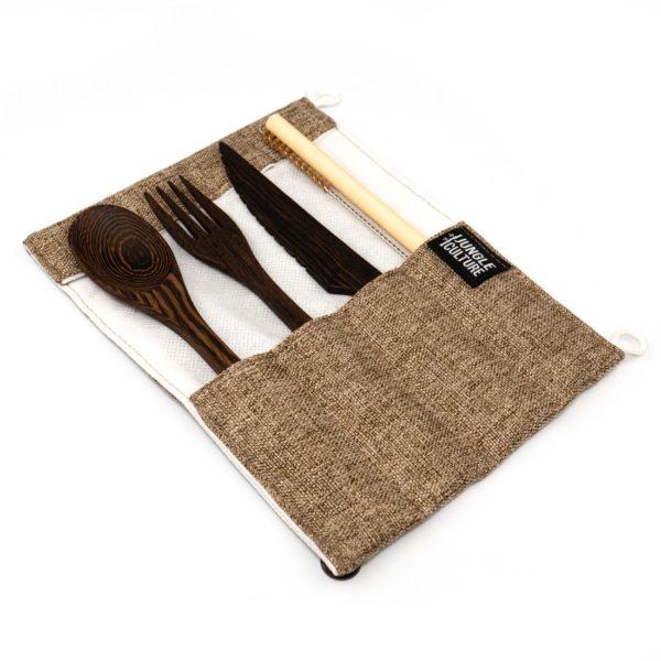 Reclaimed Wood Cutlery Set Brown Wrap